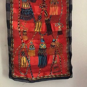 Vintage Red Silk stole scarf Large Tassels print